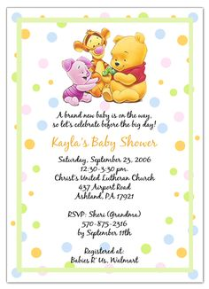 Winnie the Pooh & Friends Baby Shower Invitations