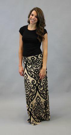Damask Maxi Skirt - Black