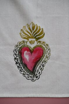 Sacred Heart Dish Towel Hand Silk Screened and Hand by MBTC, $15.00