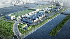 Tsukiji's Fresh start: An artist's impression of the new facilities that are under construction in Tokyo's Toyosu district  Metropolitan Central Wholesale Market | METROPOLITAN CENTRAL WHOLESALE MARKET