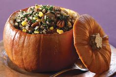 Wild Rice-Stuffed Pumpkin, The stuffing for this entrée can be made two days ahead. I used to have stuffed pumpkin every Halloween & Thanksgiving Vegetarian Times, Vegan Vegetarian, Vegetarian Recipes, Cooking Recipes, Healthy Recipes, Vegan Chef, Side Recipes, Zucchini, Savory Pumpkin Recipes