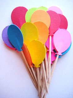 24 Bright Balloon Party Picks - Cupcake Toppers - Toothpicks - Food Picks - die cut punch FP168. via Etsy.