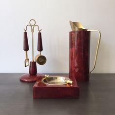 Vintage Aldo Tura Italy Barware Set // Red Lacquered Goat Skin // Ashtray // Bottle Opener Jigger Me