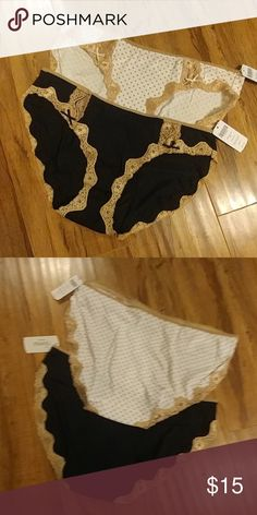 Soma panty bundle Embraceable lace bikini panty bundle from Soma.  One pair is black with tan lace and the other is white with tan polka dots and lace. Soma Intimates & Sleepwear Panties