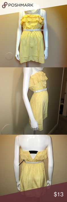 Yellow & white striped dress with white belt. Size small strapless tube top dress with yellow and white stripes. Ruffles in the top of the dress. Great for the summer :) never worn ... new with no tags the belt has a small flaw. I never used it so the belt must've folded yikes but the dress can used without the belt or another skinny belt that's why I'm selling it at a lower cost :) bought it for $25.    Thanks for taking the time to read my post. rolypoly Dresses Strapless