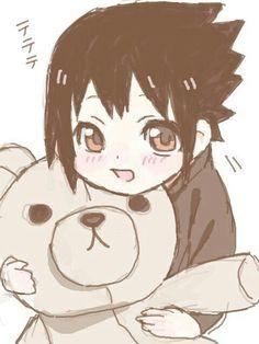 Uchiha Sasuke, cute, young, childhood, teddy bear, stuffed toy, text; Naruto