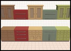Buggybooz's KitchenBasic/Shakerlicious Kitchen: 20 Painted Wood Colors Sims 4, The Sims, Kitchen Dining, Kitchen Cabinets, Wood Colors, Painting On Wood, Painted Wood, Storage, Stuff To Buy