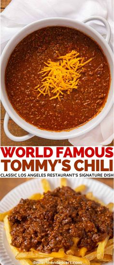Spot on replica of spicy, meaty Tommy's Chili, a true Los Angeles Favorite! Spot on replica of spicy, meaty Tommy's Chili, a true Los Angeles Favorite! Best Chili Recipe, Chilli Recipes, Mexican Food Recipes, Soup Recipes, Dinner Recipes, Tommys Chili Recipe, Chili Recipe Not Spicy, Deserts, Bon Appetit