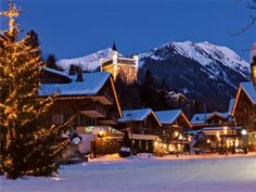 SWITZERLAND in Winter: The Gstaad Palace is perched above the festively illuminated village of Gstaad in the Saanenland, Bernese Oberland Andrea Casiraghi, Zermatt, Switzerland Christmas, Gstaad Switzerland, Switzerland Tourism, Madrid, Barcelona, Most Luxurious Hotels, Ski Holidays