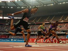 Orlando Ortega, left, defeats David Oliver to win the 110m hurdles during the 2015 Meeting Areva at Stade de France.  Kirby Lee, USA TODAY Sports
