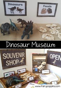 Dinosaur Museum and Souvenir Shop dramatic play center and printables ~ Fairy Poppins Early Learning Activities, Eyfs Activities, Dinosaur Activities, Play Based Learning, Summer Activities, Family Activities, Dinosaur Museum, Dinosaur Play, Dino Museum
