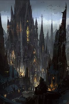 ideas for dark fantasy landscape rpg Fantasy Kunst, Fantasy City, Fantasy Castle, Fantasy Places, Fantasy World, High Fantasy, Dark Fantasy Art, Gothic Castle, Dark Castle