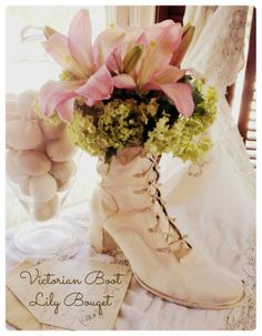 Lilies for Mothers Day ~ Victorian Boot Planter DIY (uses an old black boot from the thrift shop)