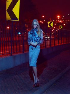 Dutch fashion model Marloes Horst appears in 'Night Visions' for Elle US August 2012 as photographed by Thomas Whiteside and styled by Grace Cobb.
