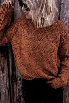 7 Sweaters to Add to Your Closet This Year - Chaylor Mads Burnt Orange Sweater, Orange Sweaters, Yellow Sweater, Color Block Sweater, Cozy Sweaters, Pullover Sweaters, Sweaters For Women, Chunky Sweater Outfit, Sweater Outfits