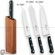 """DUE CIGNI MAGNETIC Forged Kitchen Knives Block Set 2C-338, knife blocks sets, wooden cutting boards and gift ideas of Walnut Wood containing three different types of knives: 1) Forged Meat Slicer Knife 7.5"""" 2) Forged Bread Knife 7.9"""" 3) Forged Chef Knife 7.9"""" - All in stainless steel 4116 - HRC 55/57 - X50Cr15MOV of high quality and Black POM handle with stainless steel rivets suitable for washing in a dishwasher - It can be assembled as desired with the whole series magnetic..."""