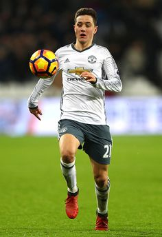 Ander Herrera of Manchester United in action during the Premier League match between West Ham United and Manchester United at London Stadium on...
