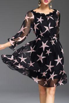 Stars Print Sheer Dress