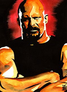 """Stone Cold Steve Austin l Ink and watercolor on 9"""" x 12"""" watercolor paper"""