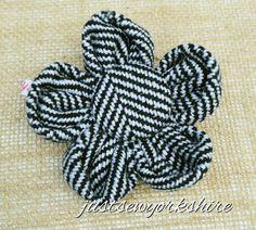 Handmade Herringbone Wool Tweed Fabric Flower by JustSewYorkshire