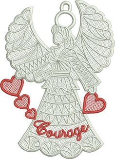 Free Standing Lace (FSL) Heart Angel embroidery design