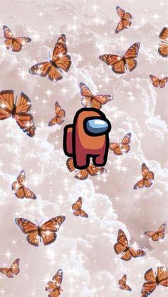 Among Us Orange Butterfly Wallpaper