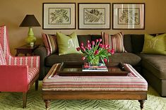 Cute Brown Sofa and Orange Curtains in Small Living Room - Home . Colourful Living Room, Eclectic Living Room, Living Room Green, Living Room Colors, Living Room Designs, Living Room Decor, A Thoughtful Place, Orange Curtains, Brown Couch