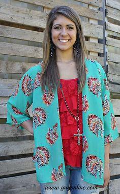Head Chief Indian Kimono in Turquoise www.gugonline.com Price:$36.95