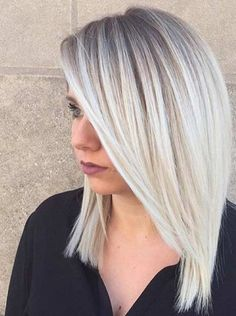 Silver platinum blonde ombré dark roots