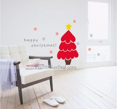 Cute Christmas Tree Wall Sticker Cute Christmas Tree, Tree Wall, Wall Stickers, Holiday, Home Decor, Wall Clings, Wall Decals, Vacations, Decoration Home