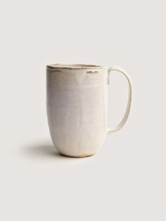 hand made, rustic, coffee mug, stoneware, white reactive glaze