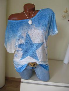 Raff Vintage Oversize Shirt Tunika Glitzer Stern...