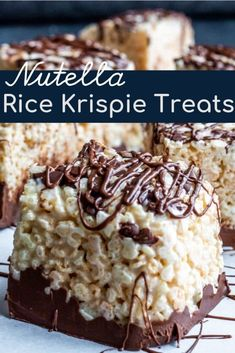 Nutella Rice Krispie Treats are the perfect classic snack with a fun twist These Nutella Rice Krispie Treats are the perfect classic snack with a fun twist. -These Nutella Rice Krispie Treats are the perfect classic snack with a fun twist. Mini Desserts, Easy No Bake Desserts, Desserts Nutella, Easy Kids Dessert Recipes, Nutella Recipes No Bake, Nutella Cheesecake, Easy Snacks, Chocolate Desserts, Chocolate Cake