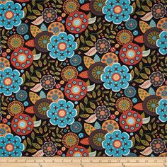 Moda Native Sun Cactus Flower Onyx from @fabricdotcom  Designed by Abi Hall for Moda, this cotton print fabric is perfect for quilting, apparel and home decor accents. Colors include orange, gold, vanilla, green, brown, black, white and turquoise.