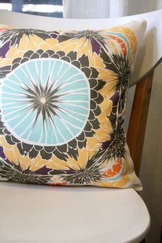 Throw Pillow Cover blue yellow brown