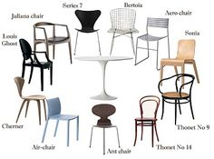 Love this collection of chairs that could work for the tulip table.