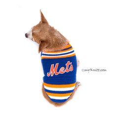 New York Mets Dog Jersey MLB Baseball Pet Jersey DK778 by Myknitt #NewYorkMets #NYMets #MLB #DIY