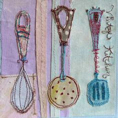 Creative Sketchbook: Afternoon Tea with Priscilla Jones! Freehand Machine Embroidery, Free Motion Embroidery, Hand Embroidery, Simple Embroidery, Art Textile, Textile Artists, Creative Textiles, Contemporary Embroidery, Everyday Objects