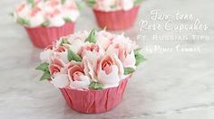 How to pipe Purple fringe rose and Decorate buttercream flower cupcake - YouTube