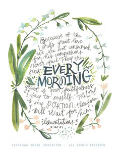 New Every Morning Lamentations 3 PRINT by truecotton on Etsy