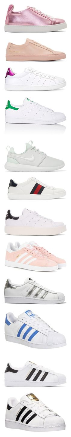"""Sneakers(Mostly Adidas)"" by drskullz on Polyvore featuring shoes, sneakers, pink, rosa metallic, pink sneakers, pink leather sneakers, butterfly sneakers, metallic sneakers, pink metallic shoes and laced up shoes"