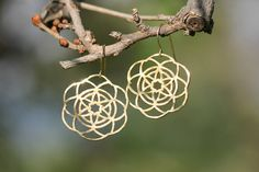 Flower Of Life Gold Earrings Kabbalah Earring by TzufitMoshel