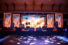 29 ideas led screen stage design for sangeet for 2019 Umbrella Decorations, Wedding Stage Decorations, Stage Set Design, Church Stage Design, Wedding Planners In Mumbai, Bollywood Theme Party, Outdoor Night Wedding, Broadway Theme, Beach Theme Wedding Invitations