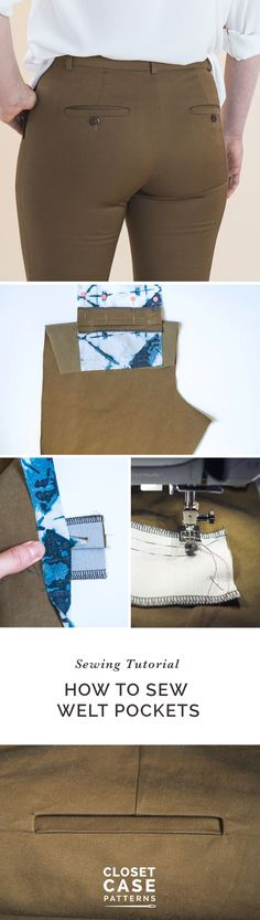 Sew super professional welt pockets using this detailed tutorial // Closet Case Patterns https://closetcasepatterns.com/sewing-welt-pockets-for-sasha-trousers/