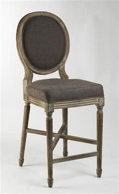Medallion Oak French Country Counter Stool in Aubergine Brown Linen