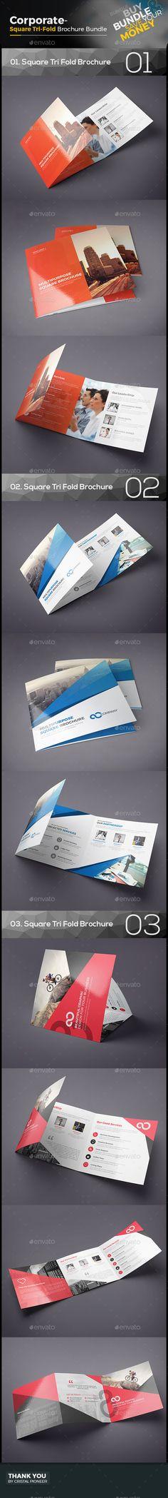 3 Square Tri Fold Brochure Bundle Templates Vector EPS, AI Illustrator. Download here: http://graphicriver.net/item/square-tri-fold-brochure-bundle-3-in-1/16607437?ref=ksioks
