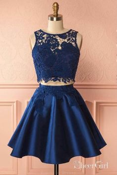 Two Piece Navy Blue Lace Homecoming Dresses Chic Lace Summer Dress ARD1540