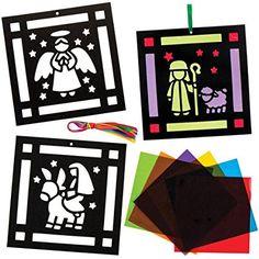 Kits de décorations Nativité effet vitrail parfaits pour les loisirs créatifs et les décorations de Noël des enfants (Lot de 6)