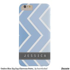 Ombre Blue Zig Zag Chevrons Pattern Barely There iPhone 6 Plus Case