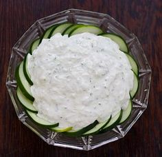 Cucumber Dip. Creamy and refreshing, a perfect low-calorie snack on those hot summer days.